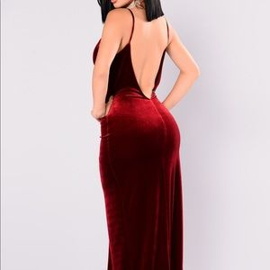 Velvet Maxi Dress with Slit and Low Back NWT
